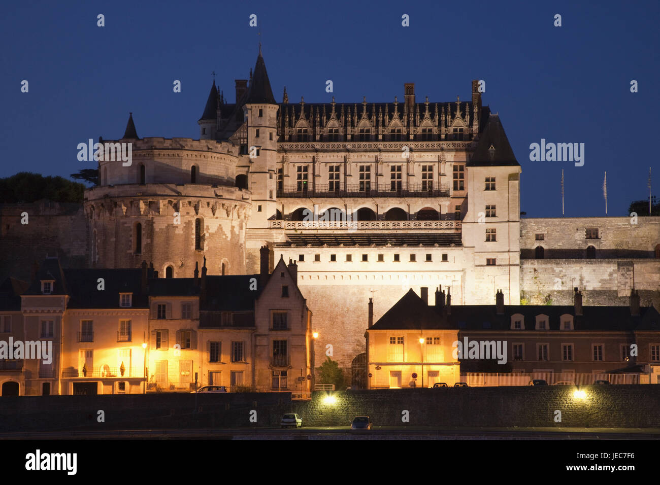 France, Loire valley, lock Amboise, in the evening, - Stock Image