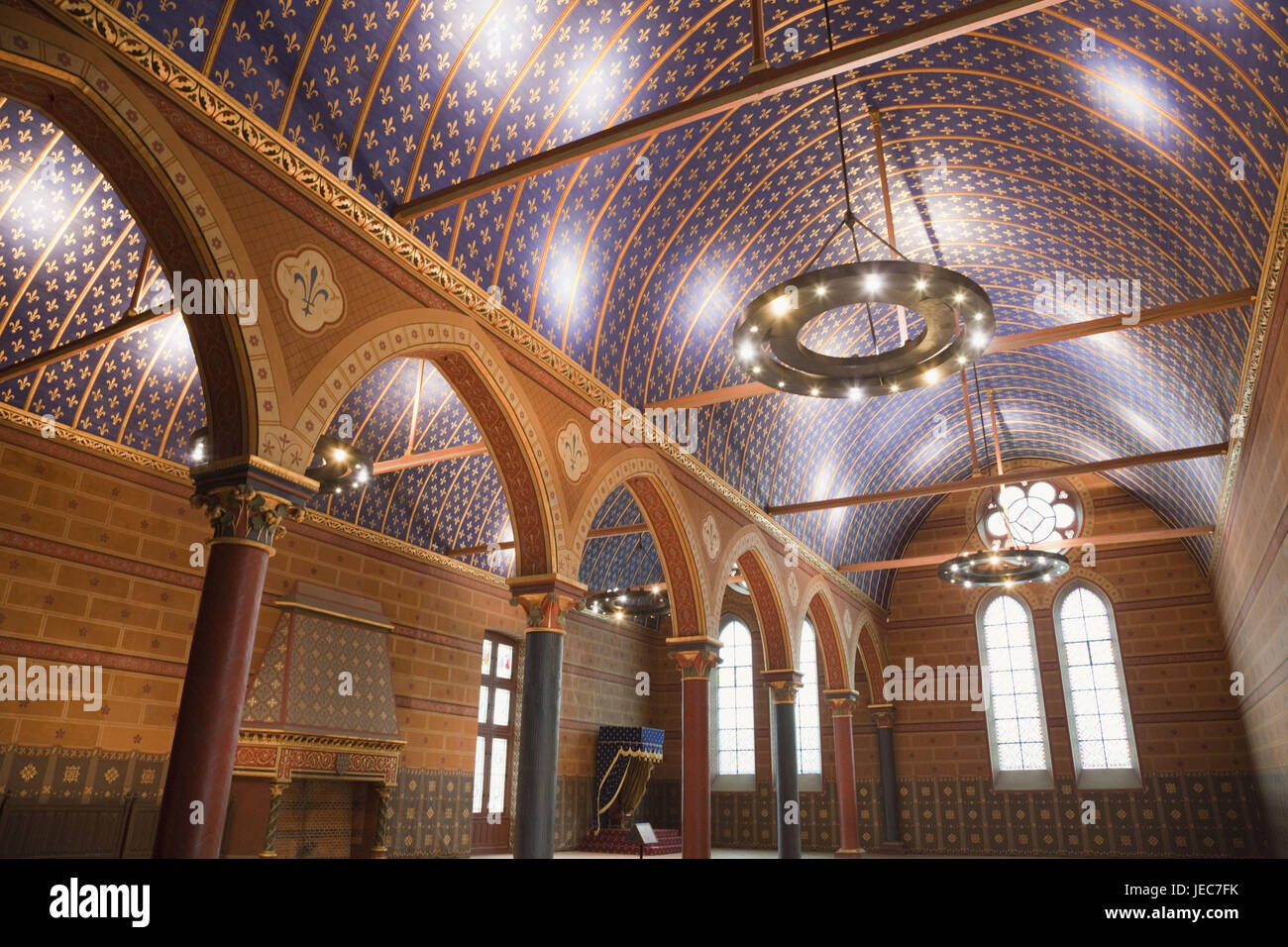 France, Loire valley, castle Blois, interior shot, state hall, - Stock Image
