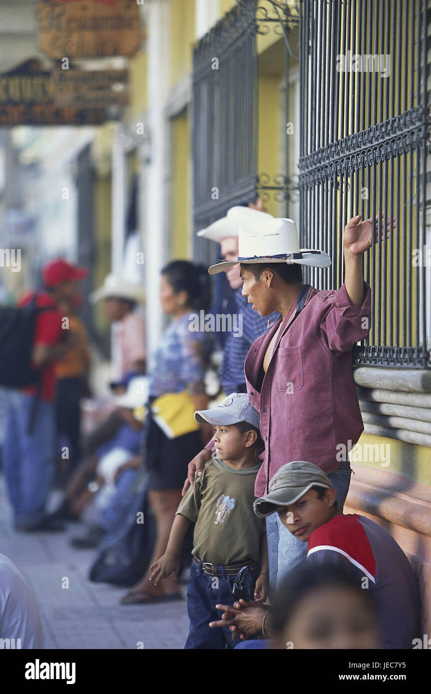 Honduras, Copan, terrace, cowboys, children, stand, blur, no model release, Central America, Latin America, destination, - Stock Image