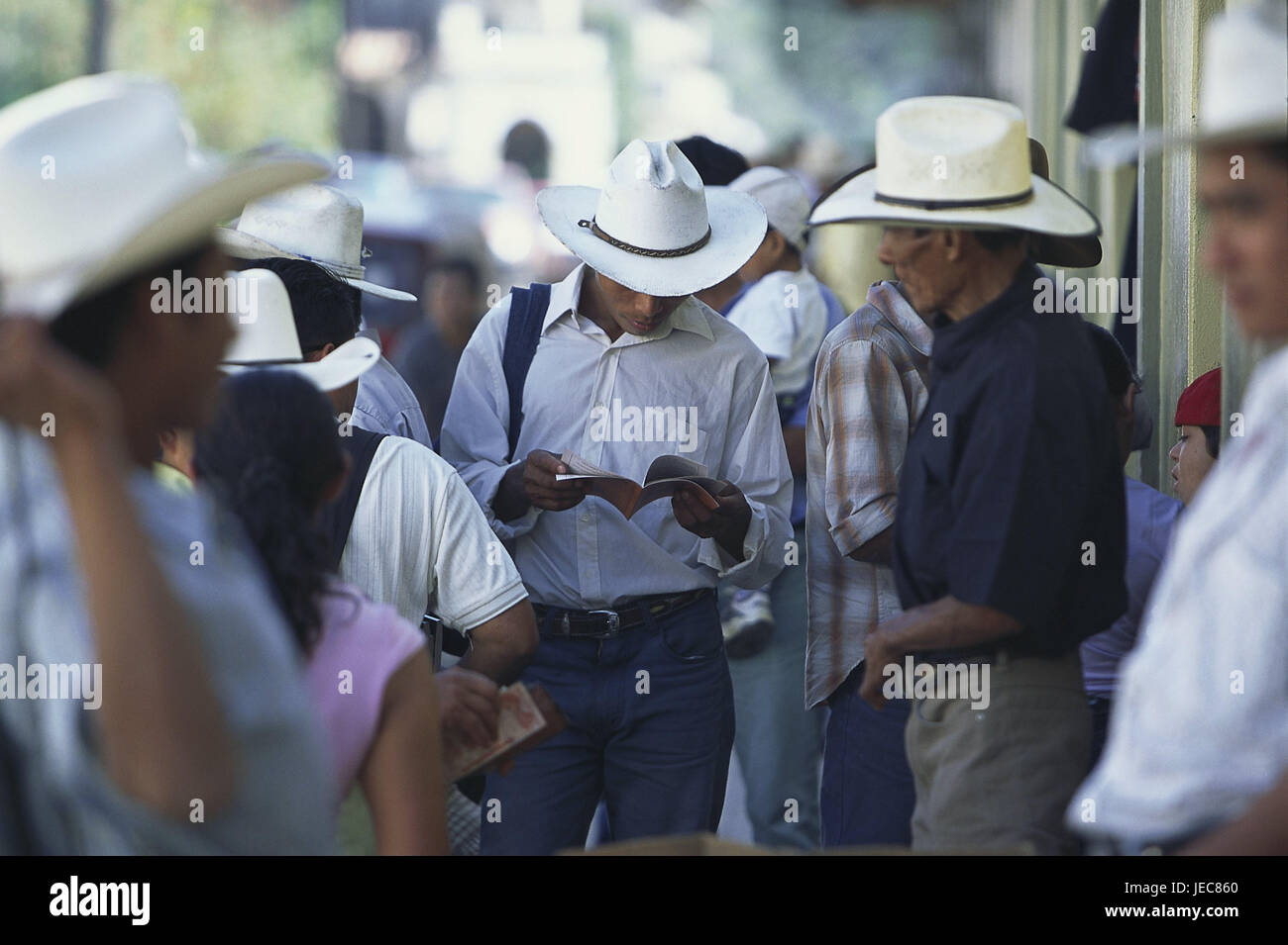 Honduras, Copan, market, cowboys, stand, blur, no model release, Central America, Latin America, destination, place, - Stock Image