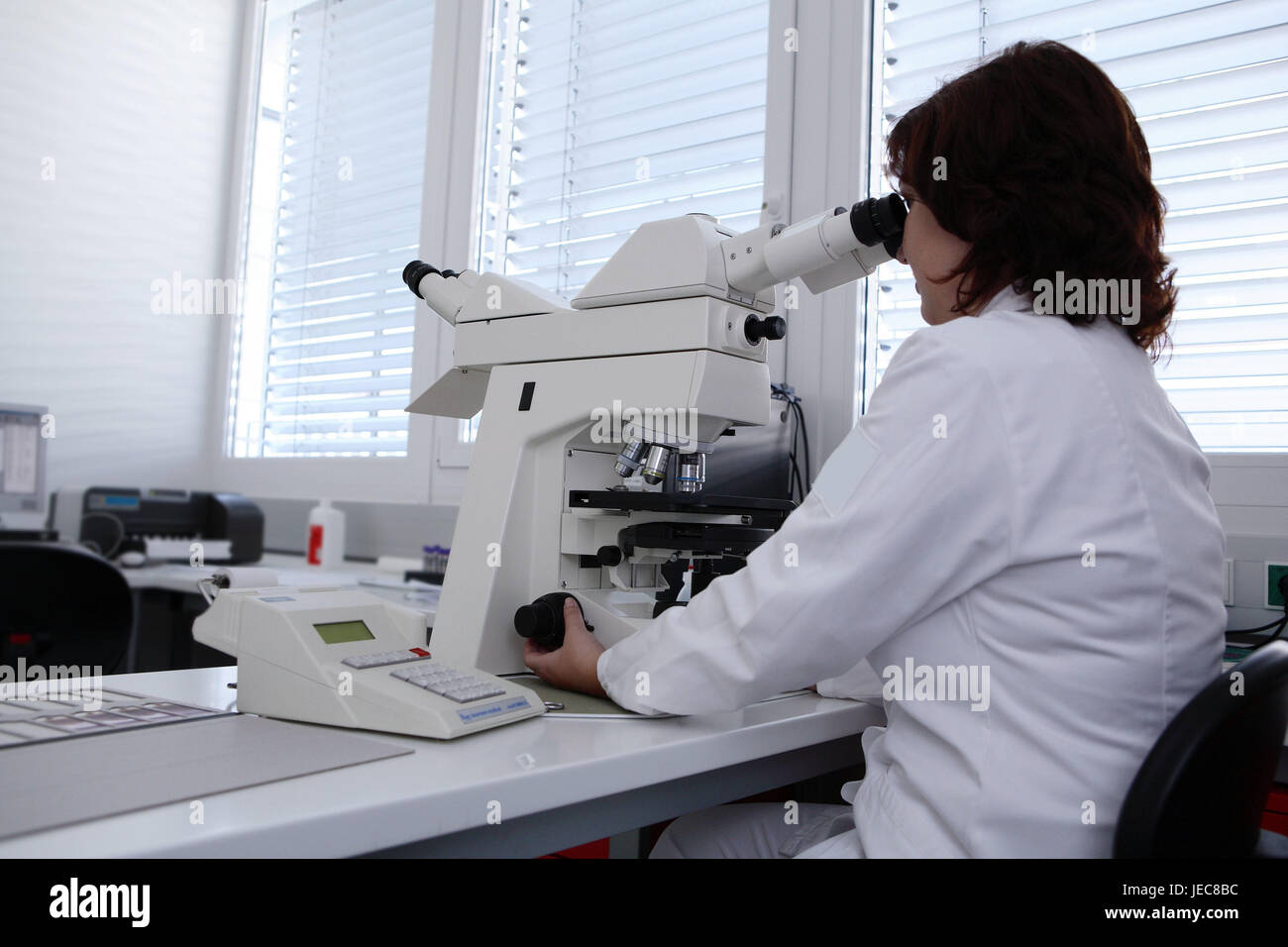 Laboratory assistant, microscope, medicine, research, science, hospital, laboratory, person, laboratory office worker, Stock Photo