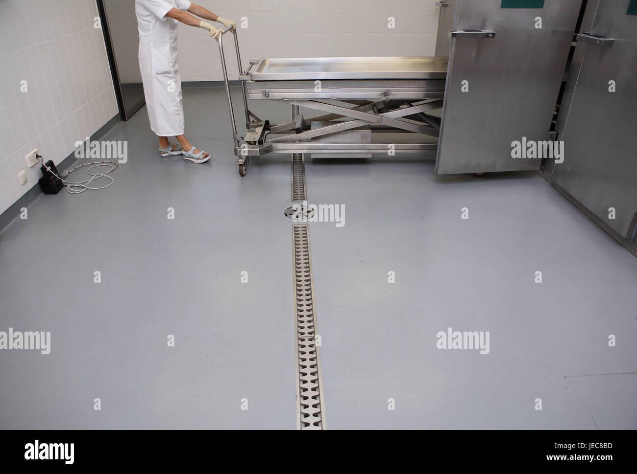 Hospital, pathological-anatomical department, Prosektur, Angestelle, rolling carriage, cold storage room, medicine, - Stock Image