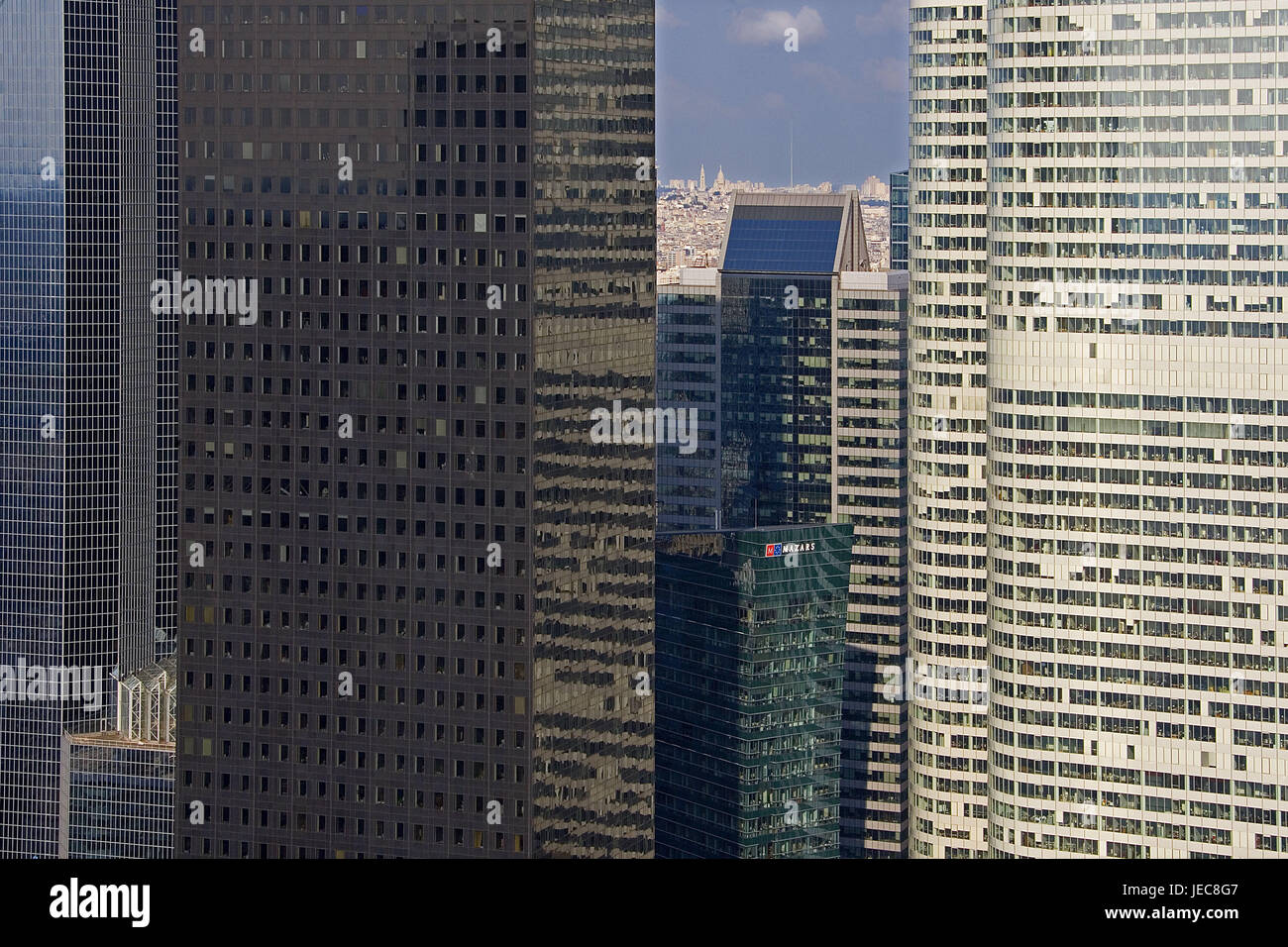 France, Paris, La Defense District, high-rise office blocks, detail, capital, business centre, high rises, buildings, Stock Photo