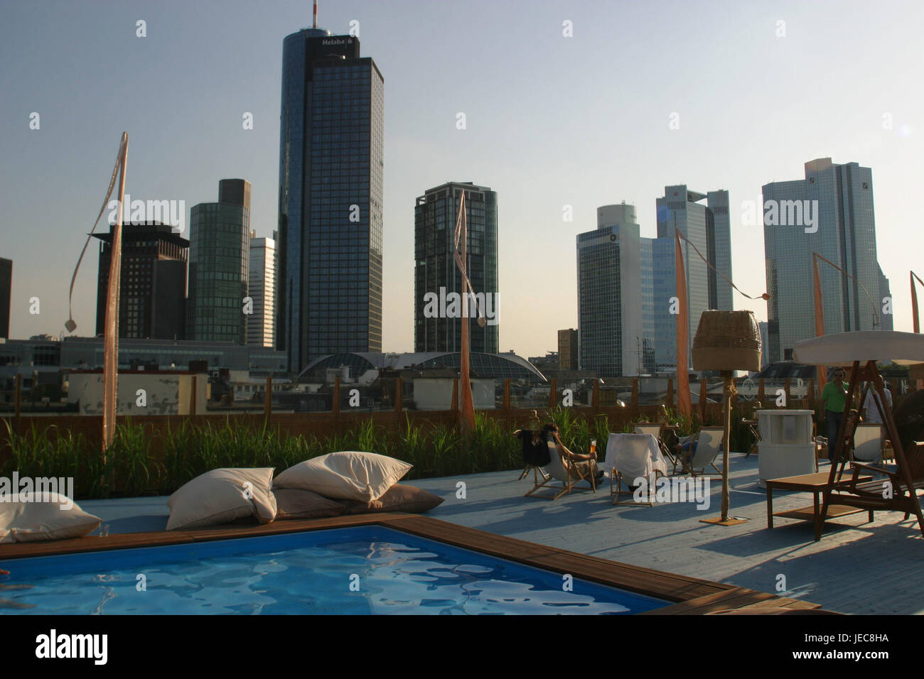Germany, Hessen, Frankfurt on the Main, roof terrace, skyline, stage bar, bank fourth, Main metropolis, bar, sunshades, - Stock Image