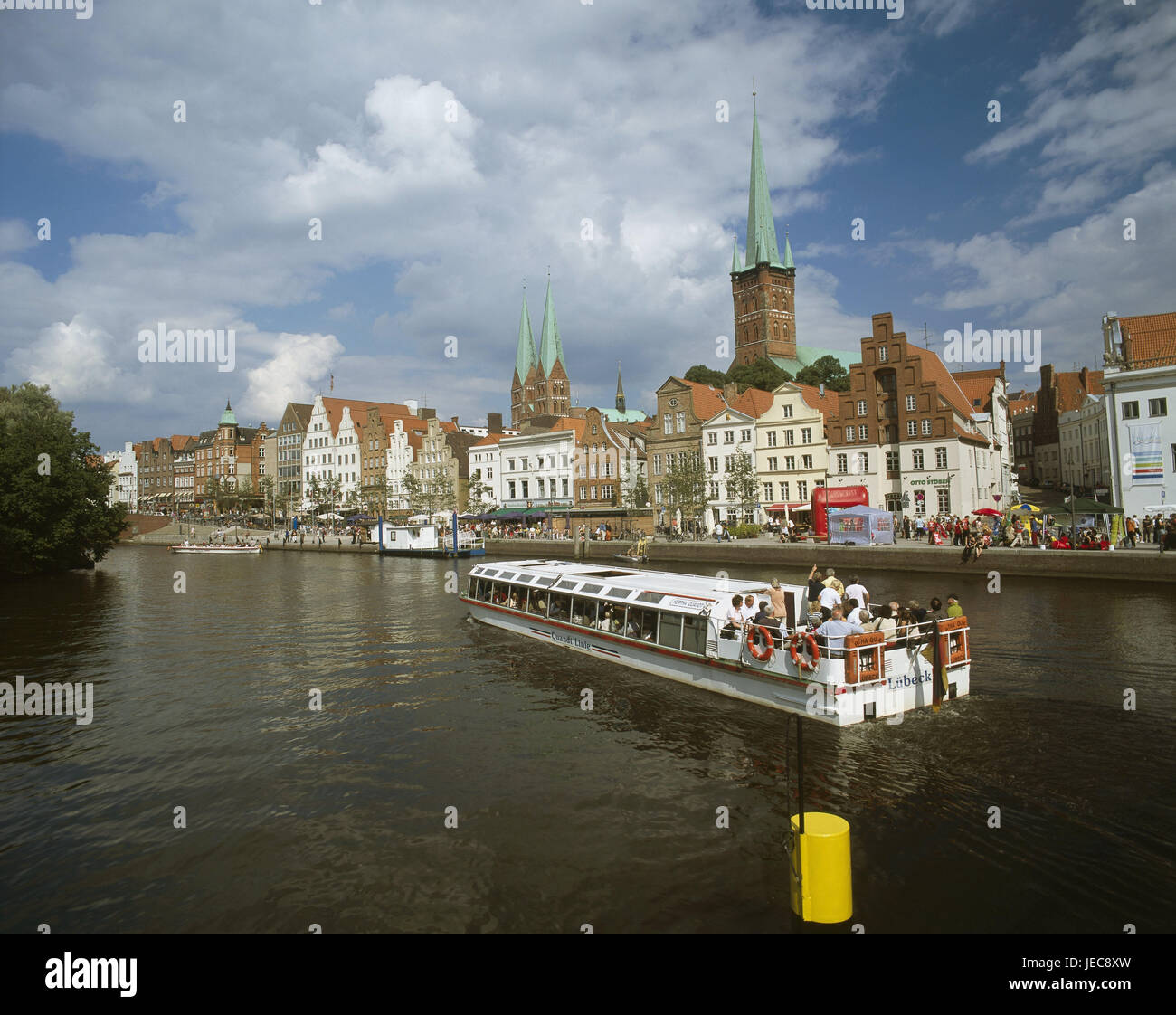 Germany, Schleswig - Holstein, Lübeck, Old Town, Marien's church, Peter's church, Obertrave, bank promenade, - Stock Image