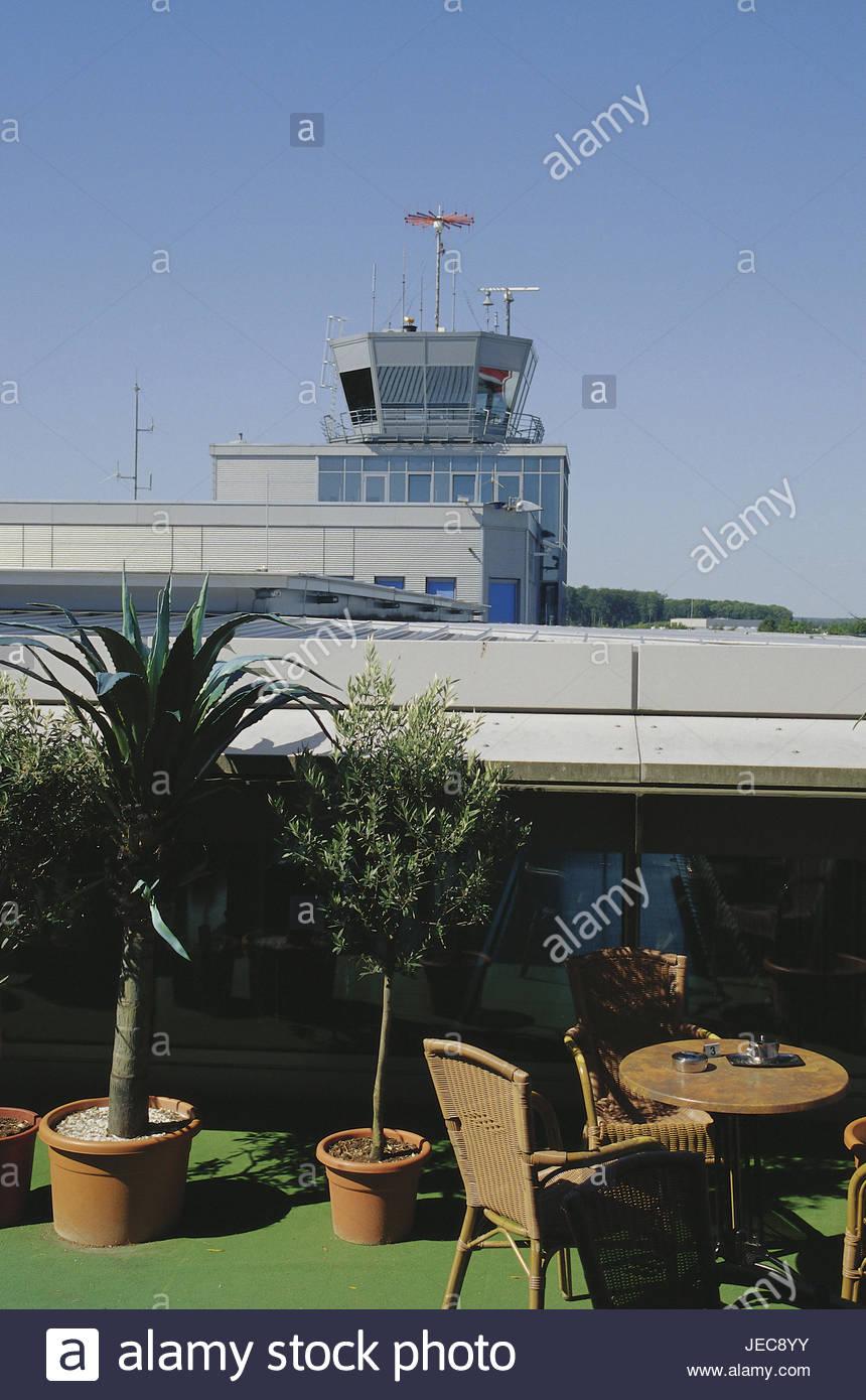 Germany, North Rhine-Westphalia, Paderborn-Lippstadt, cafe, airport Tower, Teutoburger wood, Paderborn, Lippstadt, - Stock Image