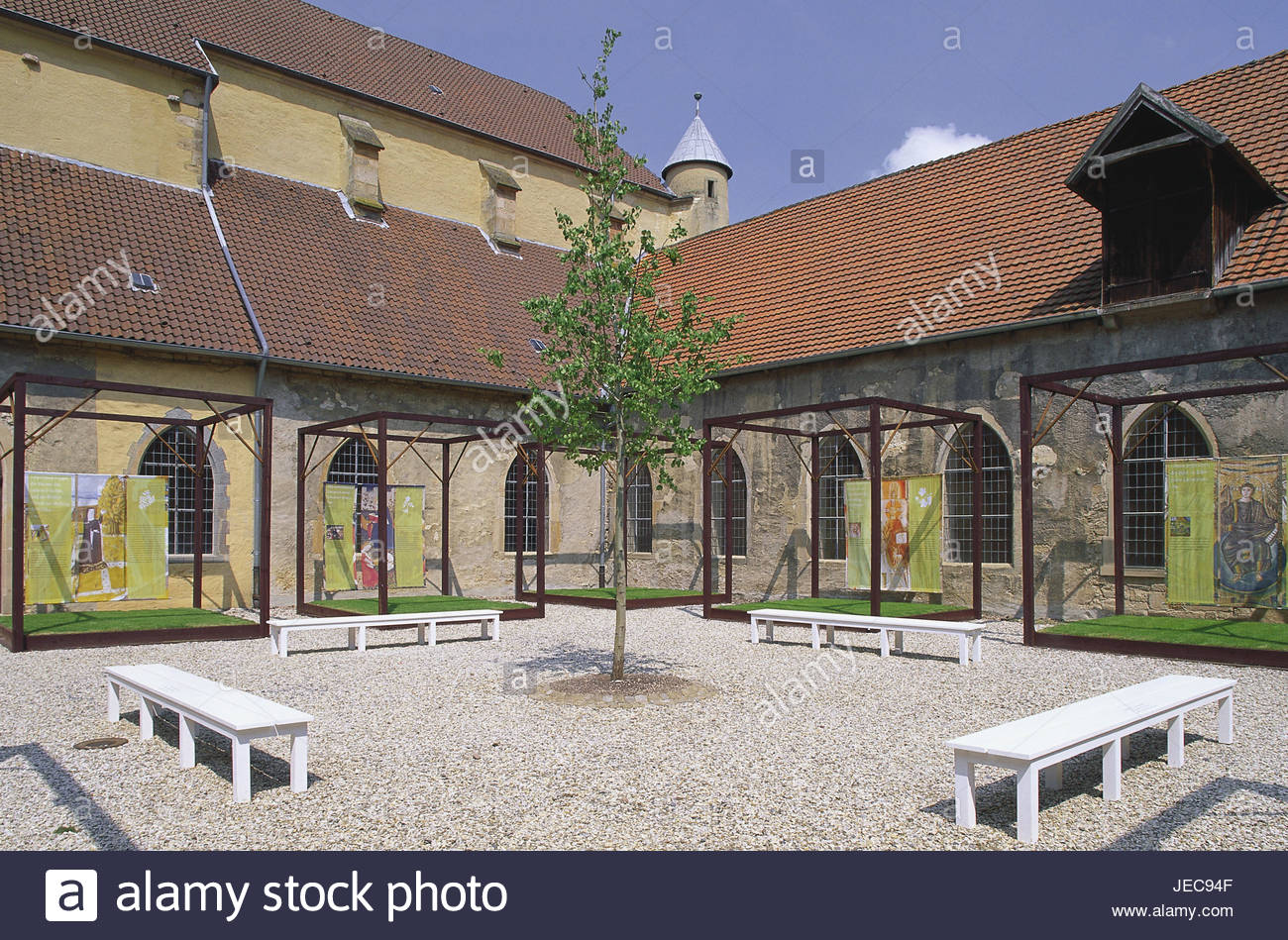 Germany, North Rhine-Westphalia, Lichtenau, home Dal, cloister, cross court, substance trajectories, illustrations, - Stock Image