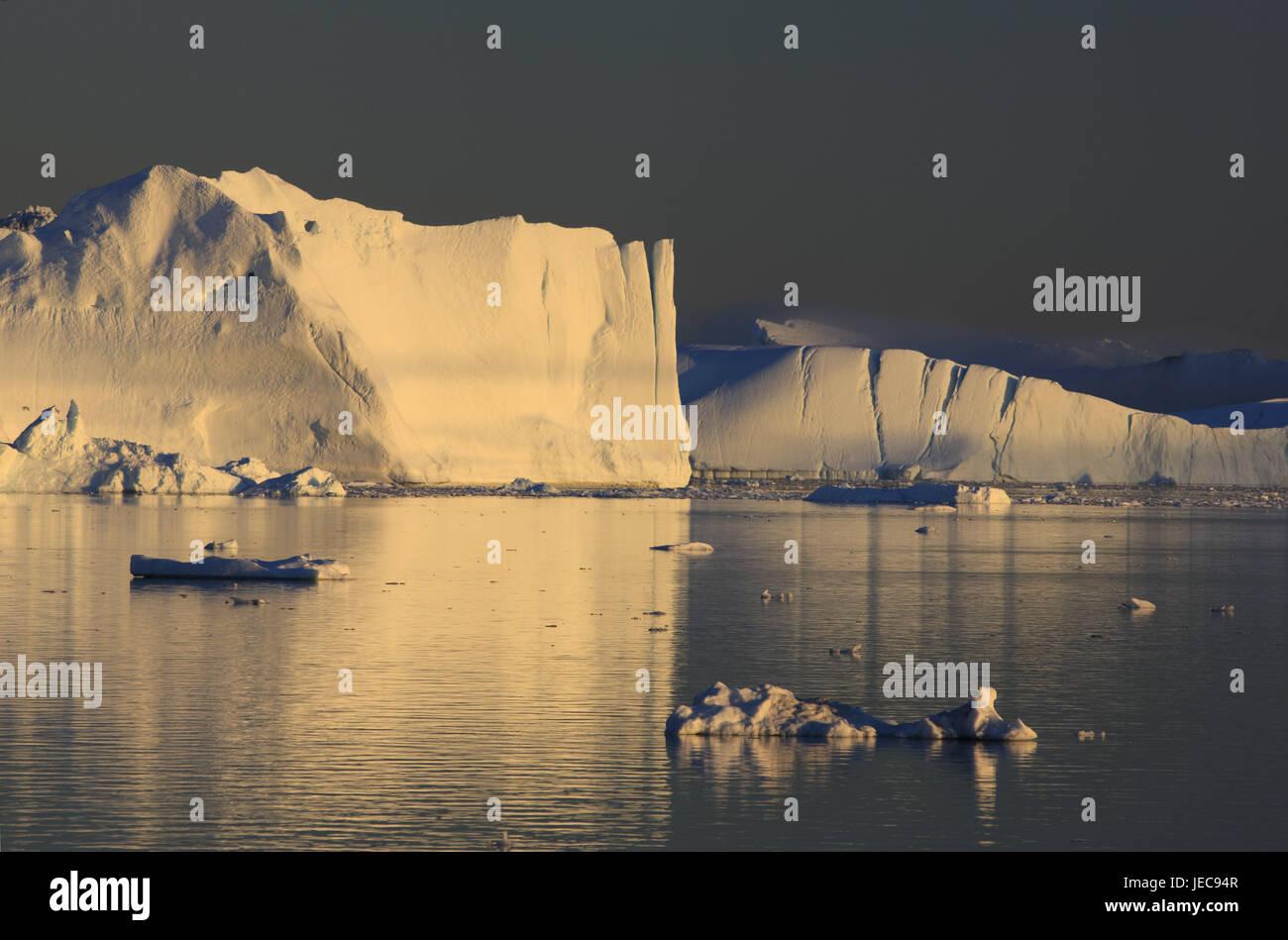 Greenland, Disco Bay, Ilulissat, fjord, icebergs, evening light, Western Greenland, ice, glacier, the Arctic, summer, - Stock Image