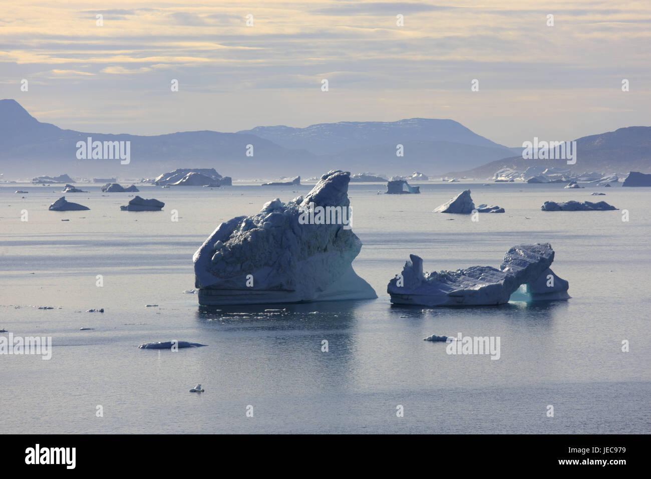 Greenland, Uummannaq, fjord, icebergs, Northern Greenland, destination, scenery, sea, the Arctic, ice, glacier ice, - Stock Image