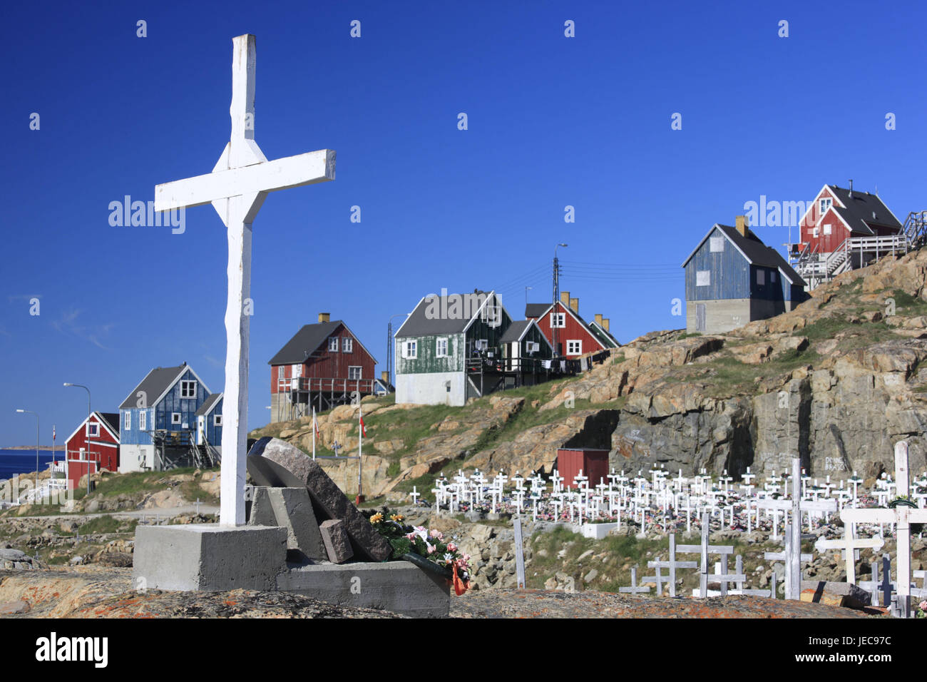 Greenland, Upernavik, residential houses, cemetery, crosses, North-Western Greenland, coast, town, the Arctic, houses, - Stock Image