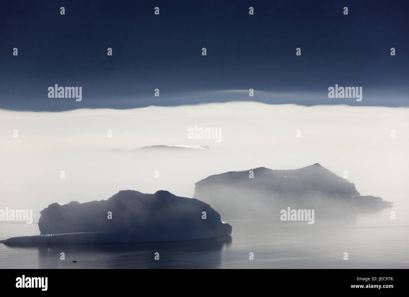 Greenland, Uummannaq, sea, icebergs, fog, Northern Greenland, destination, the Arctic, mountains, E sharp, deserted, - Stock Image
