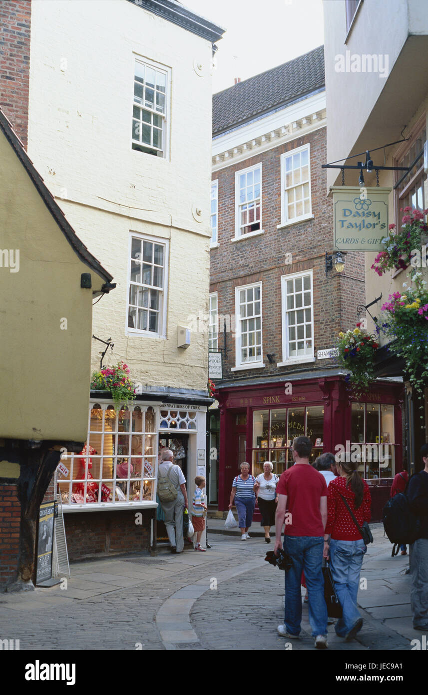 Great Britain, England, Yorkshire, York, part of town of Shambles, lane, houses, shops, tourists, no model release, Stock Photo
