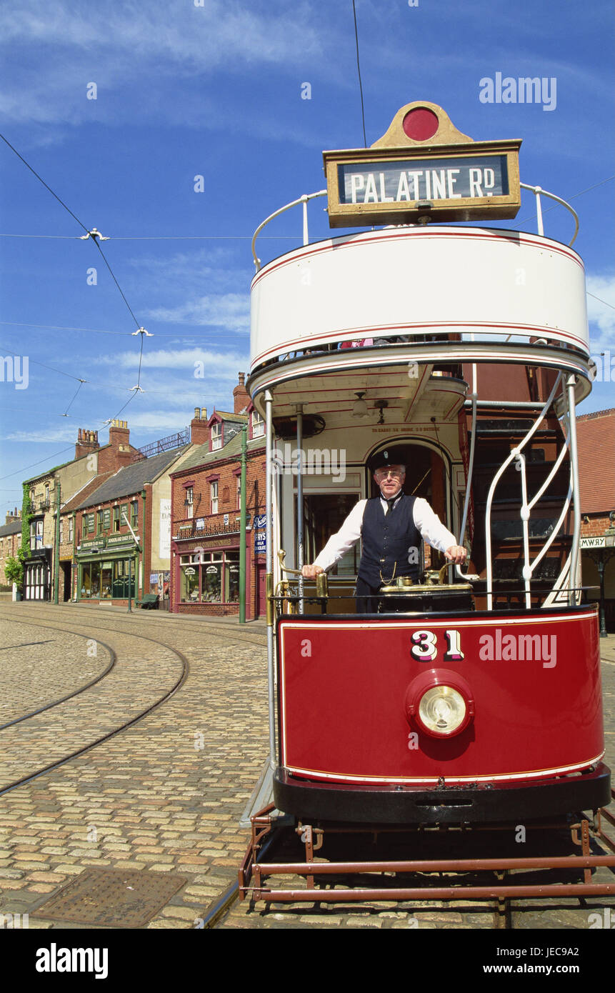 Great Britain, England, Durham, Beamish, Open air museum, house line, tram, conductor, no model release, Europe, - Stock Image