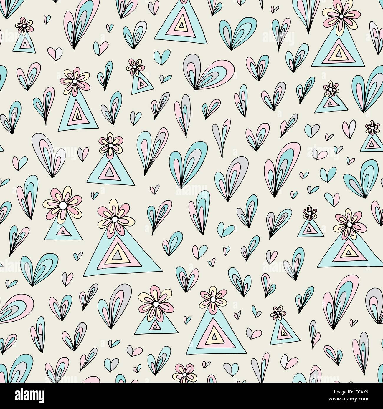 Abstract nature floral pattern. Vector stylized field seamless background. Colorful pastel colors texture for wallpaper, - Stock Vector