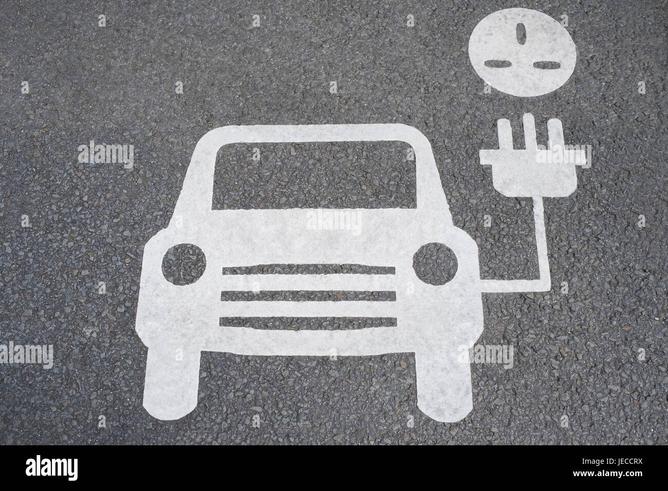 Road Sign Showing Charging Point For Electric Cars - Stock Image