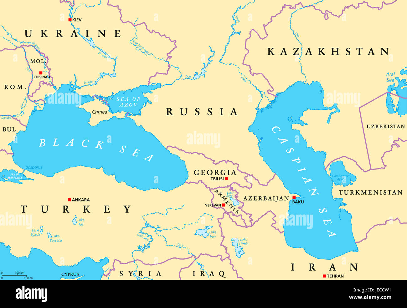 Black Sea and Caspian Sea region political map with capitals ...