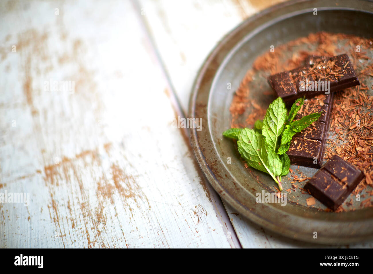 Mint and chocolate ingredients - Stock Image