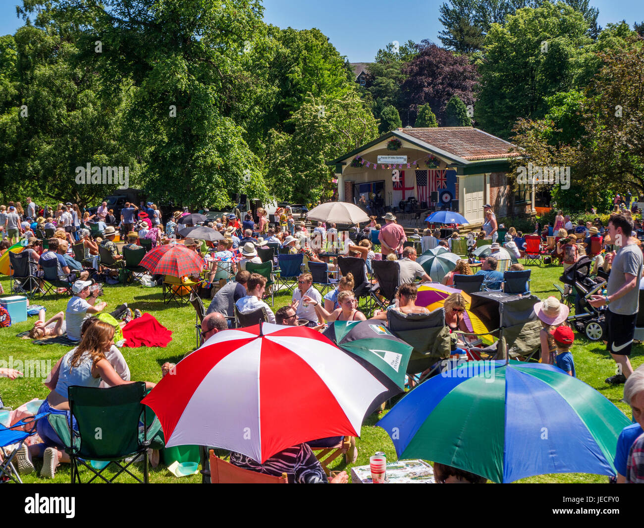 Crowd at the Bandstand during the Annual 1940s Open Day in Valley Gardens Harrogate North Yorkshire England - Stock Image