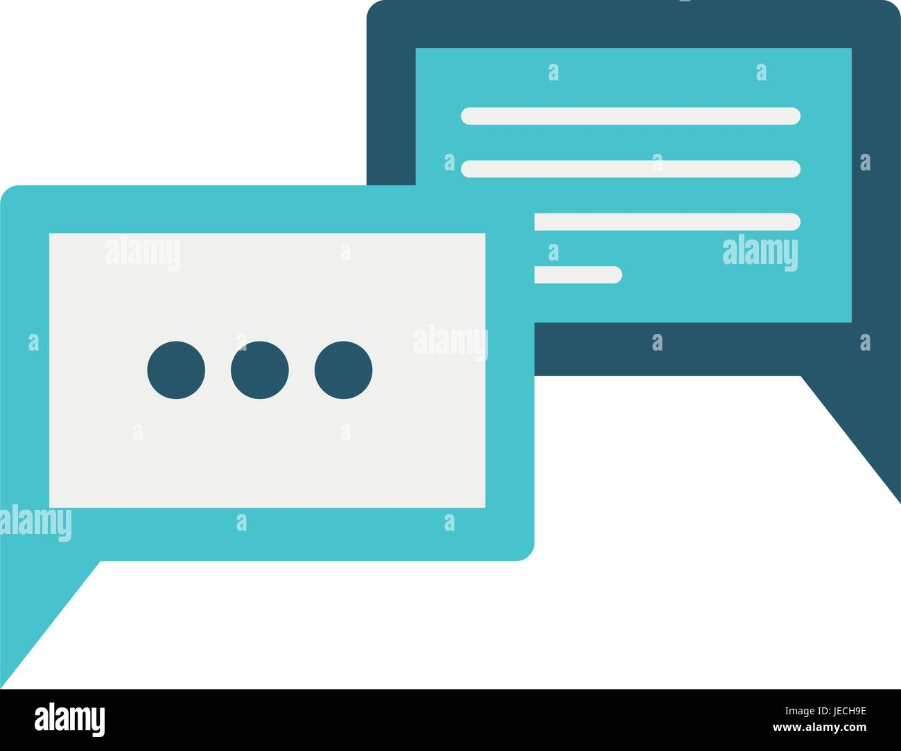 colorful silhouette image of rectangle speech dialogues with suspension points - Stock Image