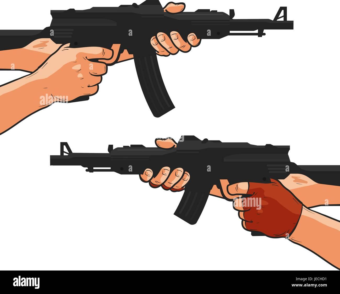 Assault rifle, small arm, machine gun, shotgun. Cartoon comics style vector illustration - Stock Vector