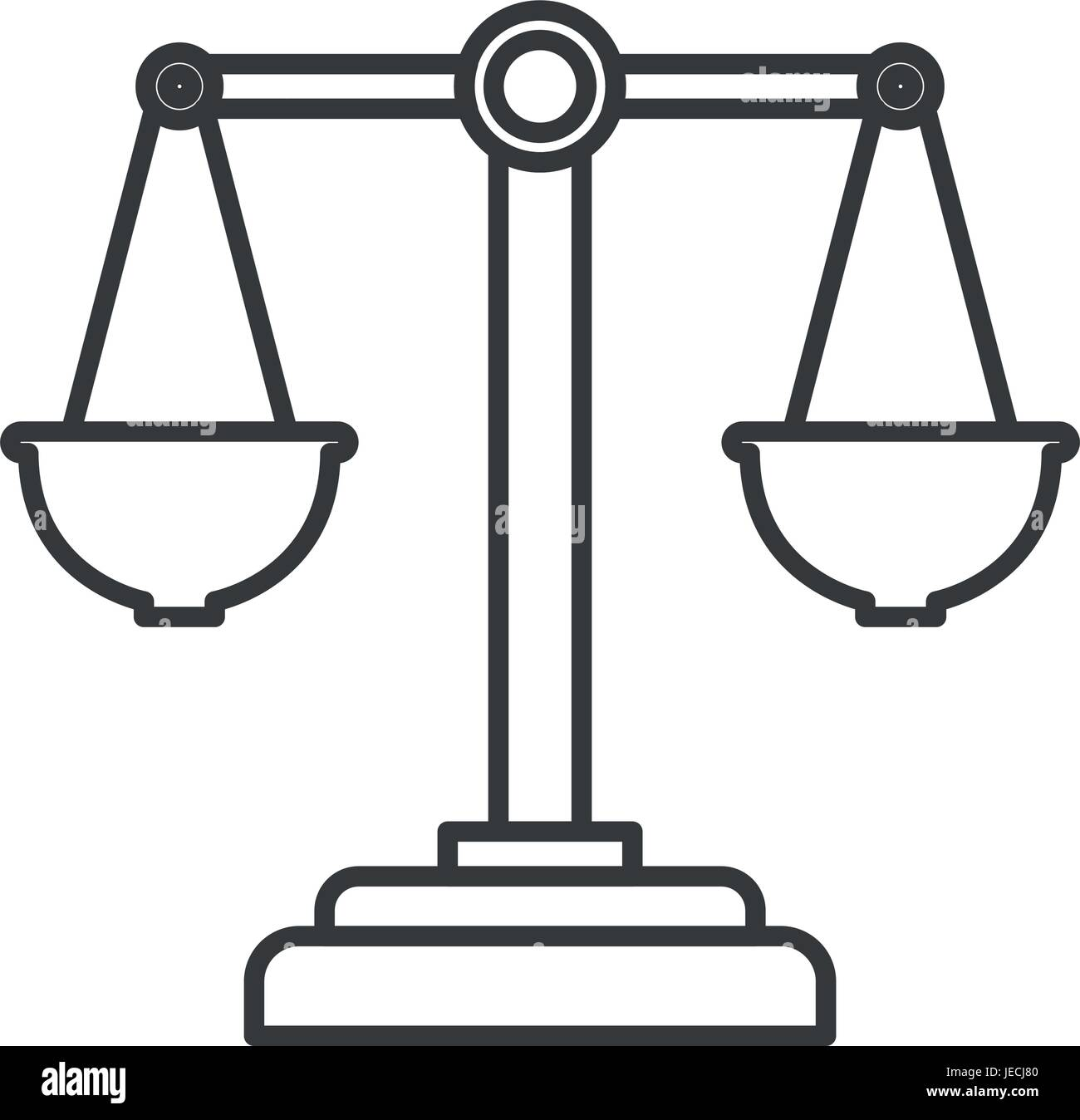 monochrome silhouette of justice scales - Stock Vector