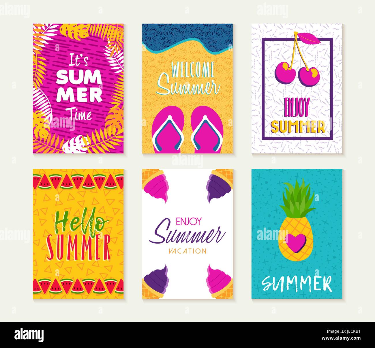 Summer Template Set Summertime Vacation Quotes With Fun Season Illustrations Ideal For Greeting Card Party Invitation Flyer Or Poster EPS10 Vecto