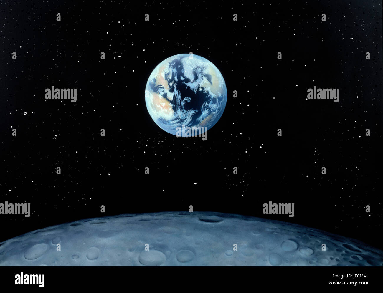 Artwork. Painting. Earth rising above moon's horizon. - Stock Image