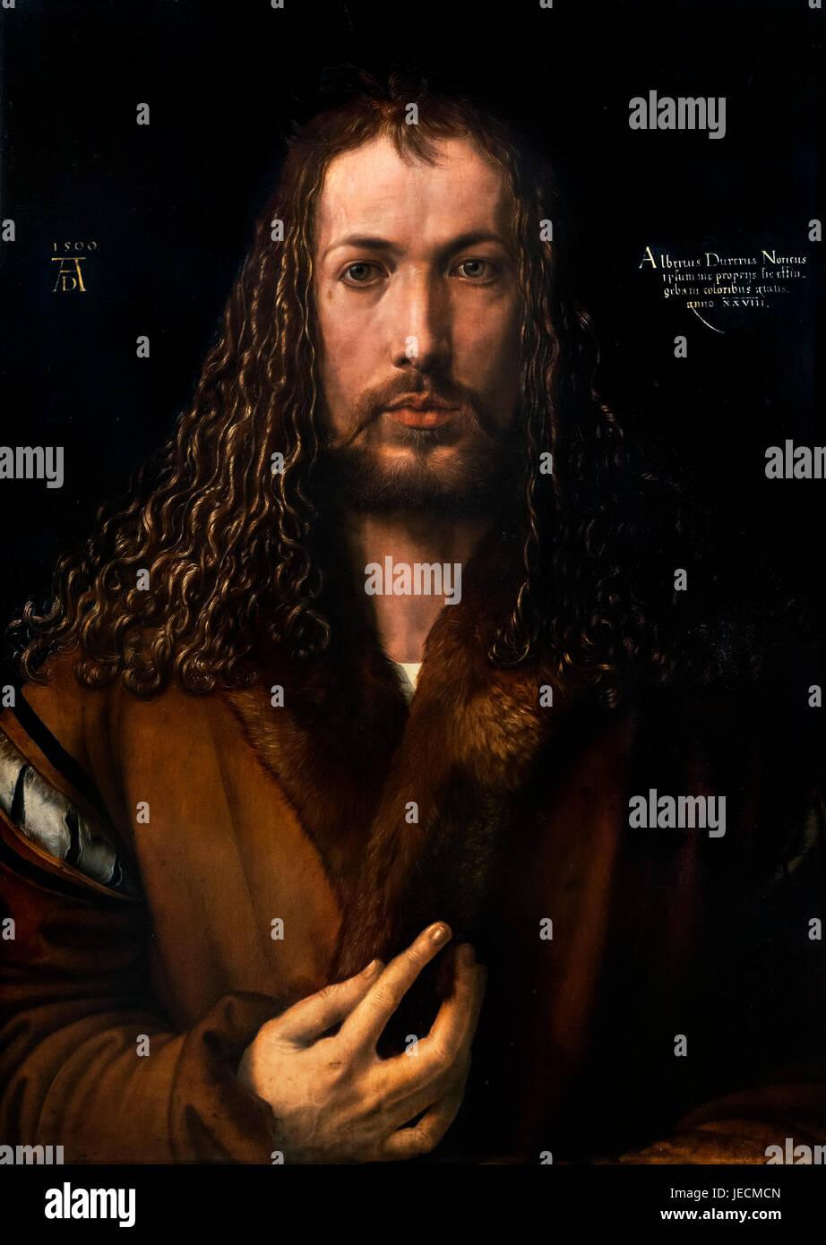 Albrecht Dürer (1471-1528), Self Portrait in a Fur Collar, oil on wood, 1500 - Stock Image