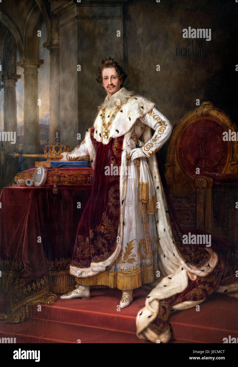 King Ludwig I (1786-1868), King of Bavaria from 1825 to 1848. Coronation portrait by Joseph Stieler, 1825 - Stock Image