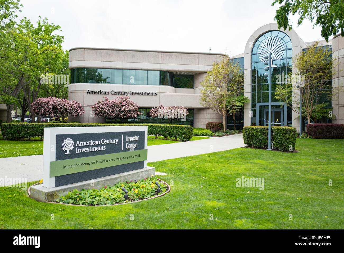 Headquarters, logo and signage for American Century Investments in the Silicon Valley town of Mountain View, California, - Stock Image