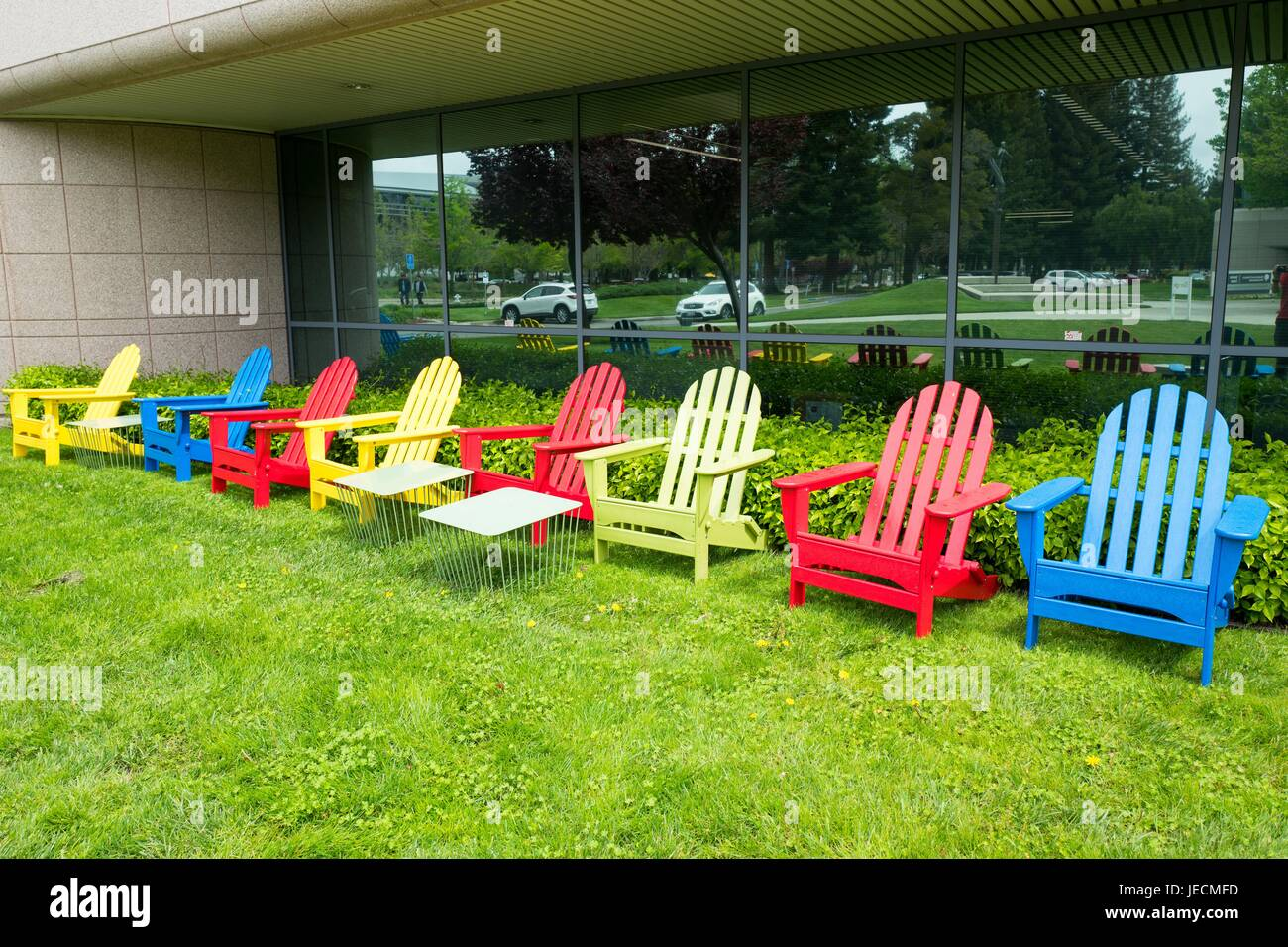 Colorful Adirondack Chairs In Google Inc Brand Colors At The Googleplex,  Headquarters Of Google Inc In The Silicon Valley Town Of Mountain View,  California, ...