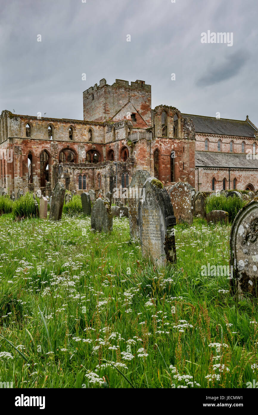 Church yard (cemetery) tombstones and ruins of Lanercost Priory, North Brampton, Cumbria, England, United Kingdom - Stock Image