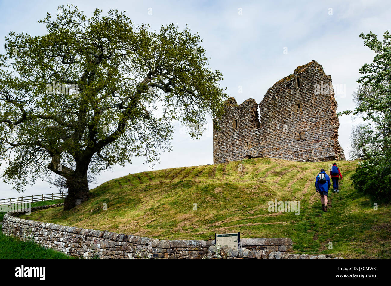 Hikers and ruins of Thirlwall Castle, near Greenhead, Northumberland, England, United Kingdom - Stock Image