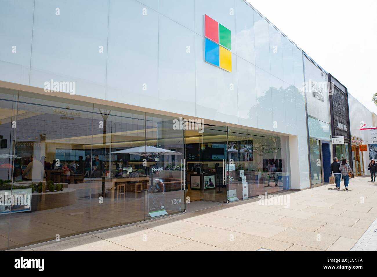Signage and logo for Microsoft retail store at the Stanford Shopping Center, an upscale outdoor shopping mall in - Stock Image