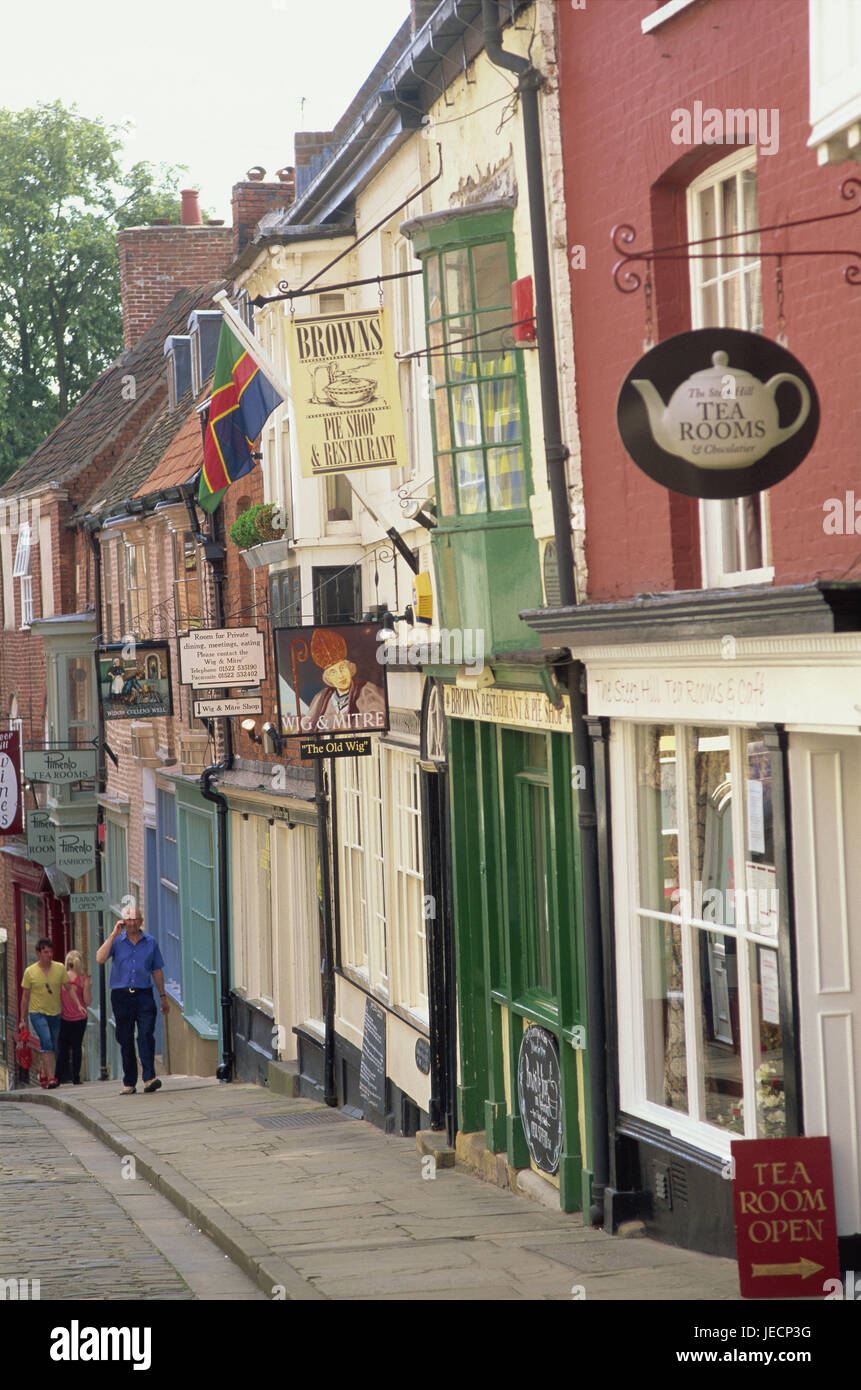 Great Britain, England, Lincolnshire, Lincoln, Steep Hill, shops, pedestrians, no model release, Europe, town, destination, - Stock Image
