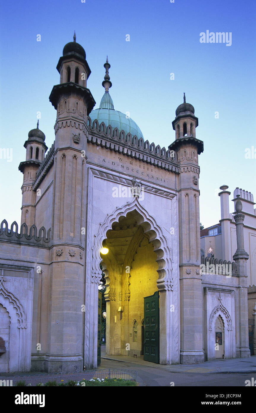 Great Britain, England, Sussex, Brighton, royal Pavilion, gate, dusk, Europe, destination, place of interest, architecture, - Stock Image