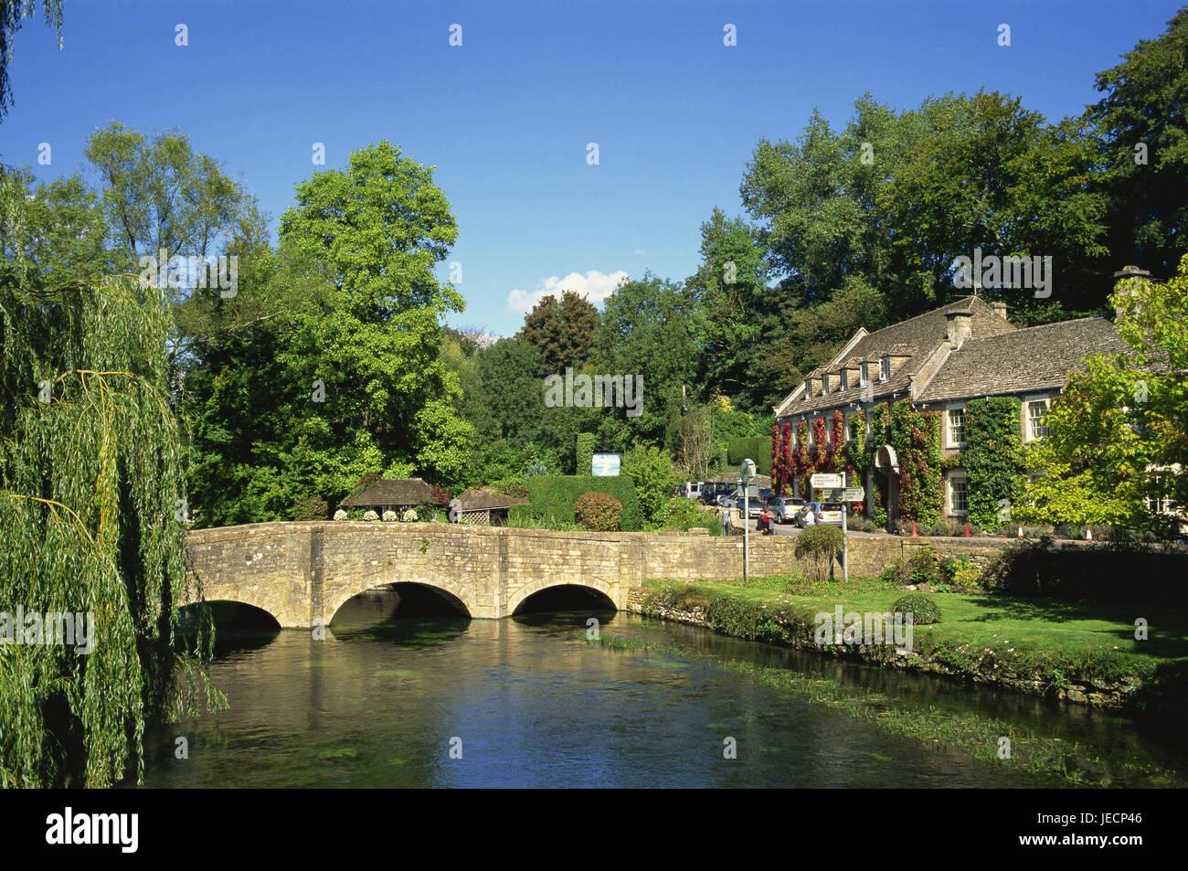 Great Britain, England, Gloustershire, Cotswolds, Bibury, bridge, river, Europe, destination, town, provincial town, - Stock Image