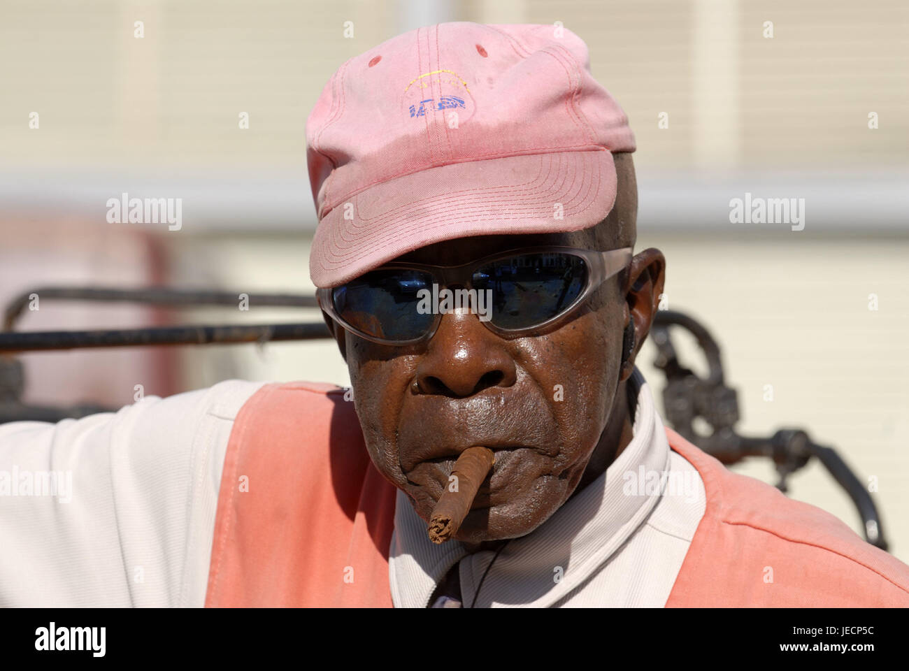 Cuba, Camagüey, man, sunglasses, cigar, smoke, portrait, the Caribbean, island, person, local, non-white, Cuban, - Stock Image