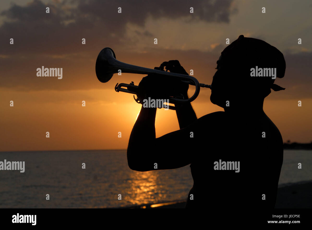 Cuba, Trinidad, beach, silhouette, trumpet player, sundown, the Caribbean, island, person, man, musical instrument, Stock Photo