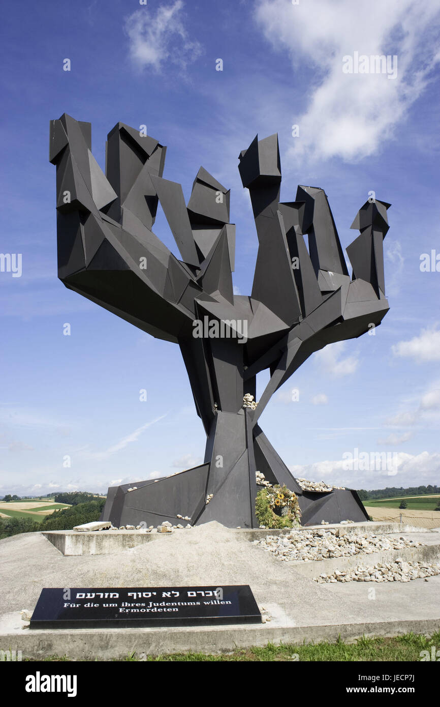 Austria, Mauthausen, concentration camp memorial, sculpture, Jewish monument, outside area, cloudy sky, Upper Austria, - Stock Image