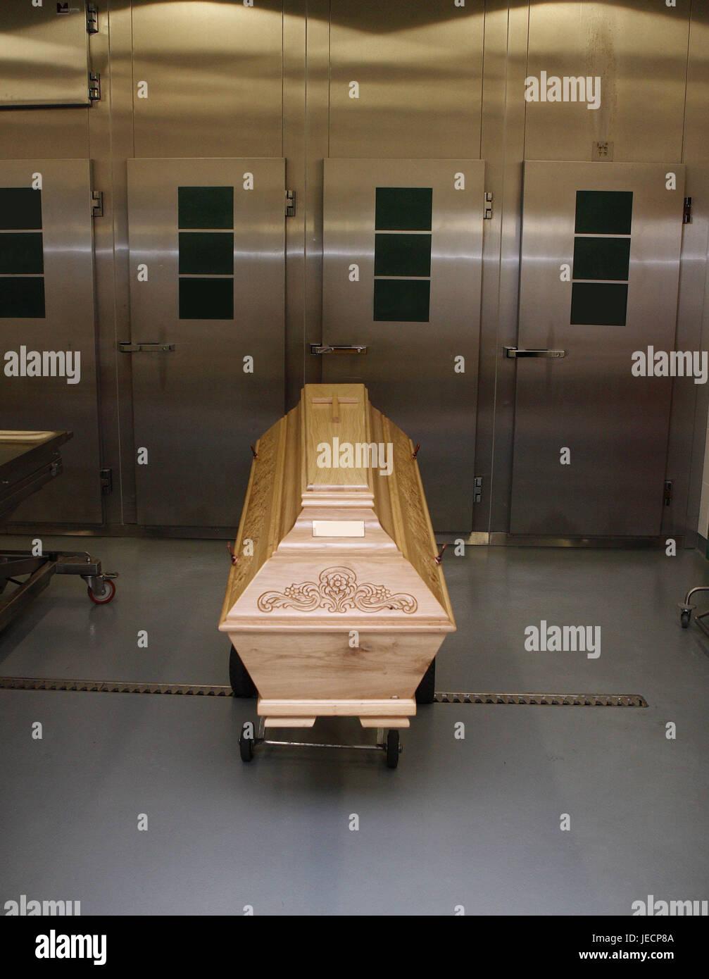 Hospital, pathological-anatomical department, Prosektur, coffin, medicine, hospital department, morgue, cooling, - Stock Image