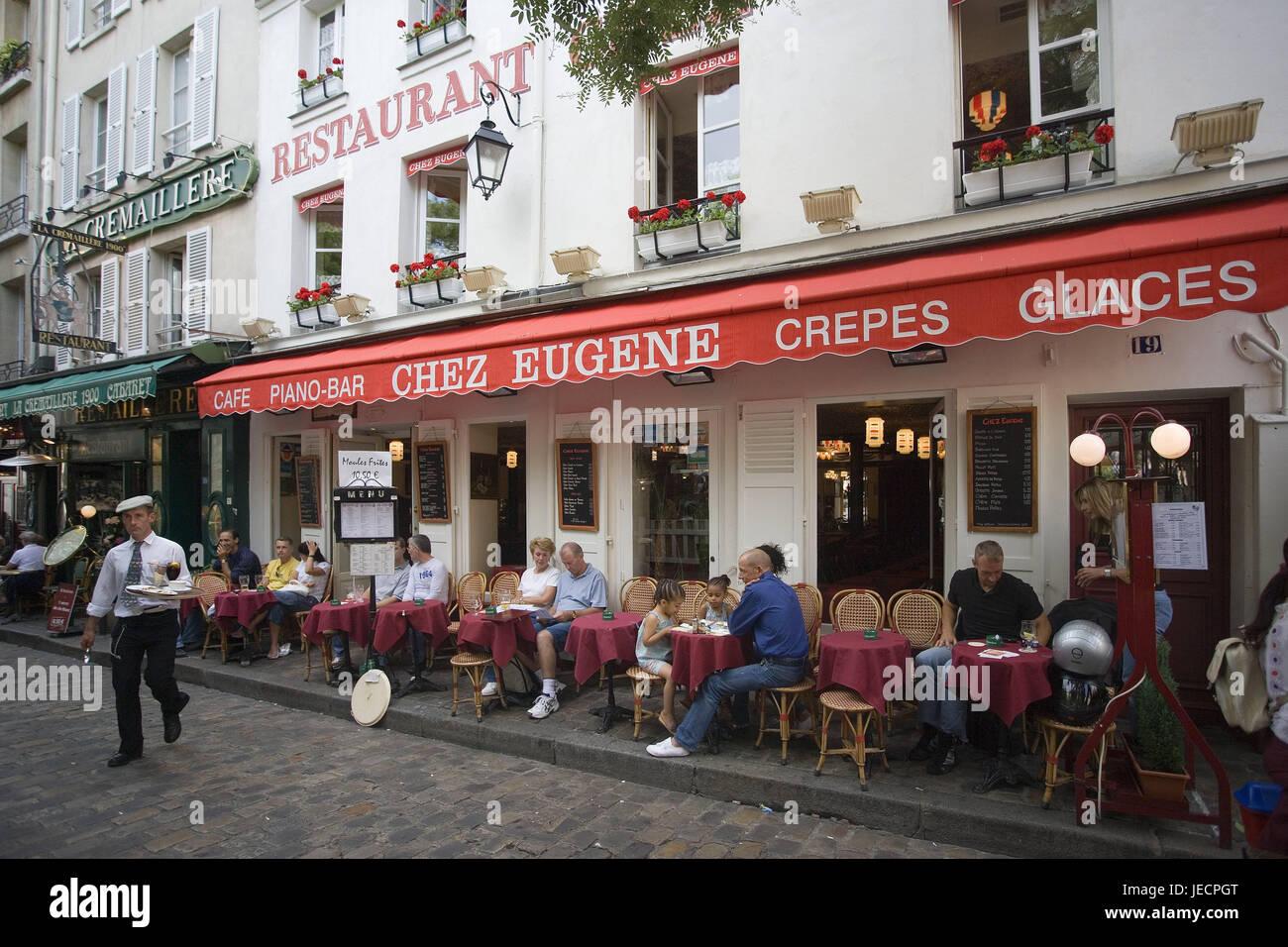 France, Paris, Montmartre, lane, street cafe, tourist, capital, city centre, pedestrian area, terrace, bar, cafe, - Stock Image
