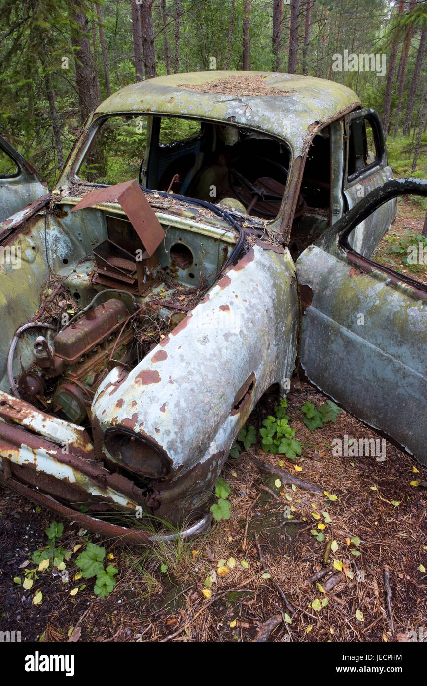 Wood, scrap vehicle, vehicle, car, wreck, old, discards, decontaminates, scrap metal, rusted, pointlessly, put down, - Stock Image