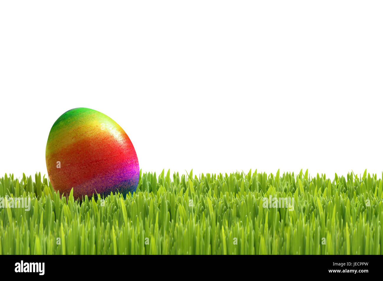 Easter, meadow, Easter egg, rainbow-coloured, egg search, [M], grass, culture, feast, Easter feast, Easter time, - Stock Image