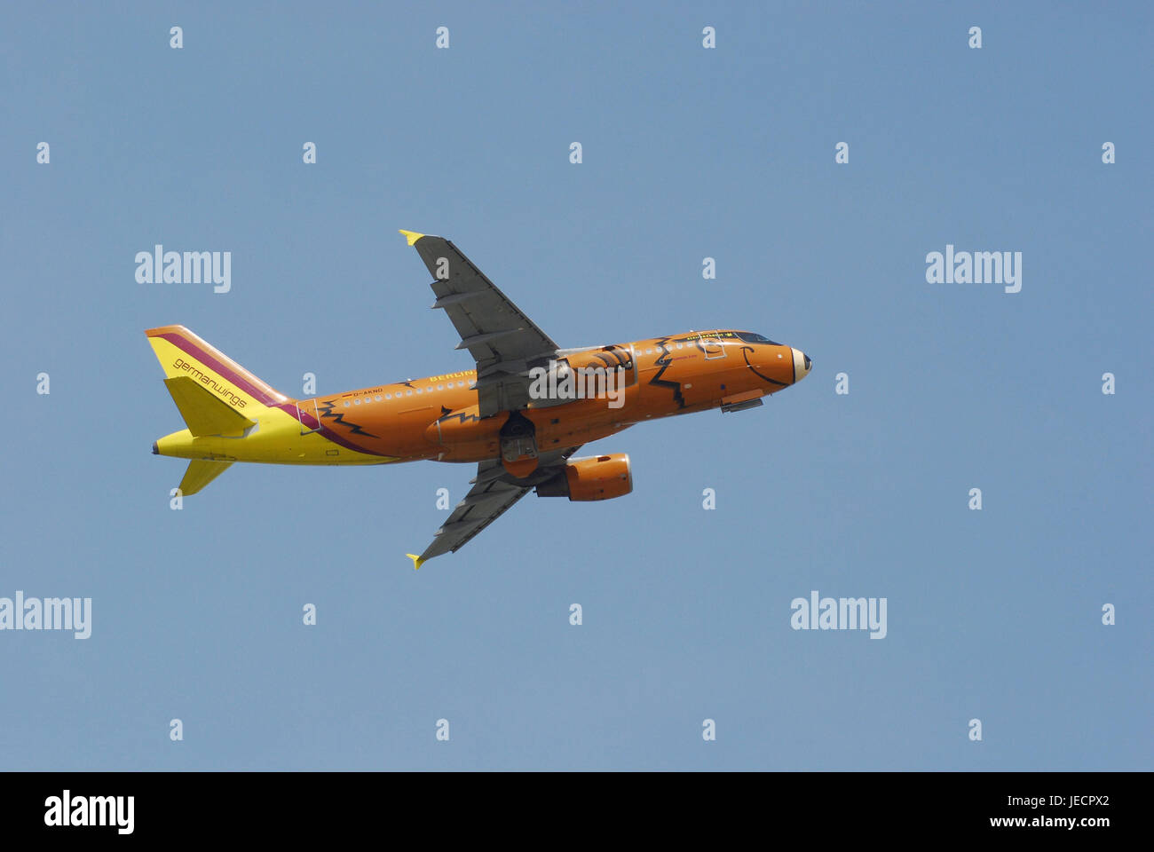 Air liner, airbus A319, flight, no property release, civil aviation, airplane, traffic airplane, standard body airplane, - Stock Image