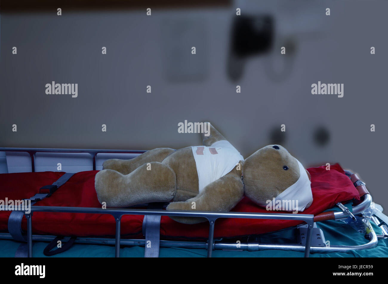 Clinic, rolling stretcher, teddy bear, association, emergency admittance, recording station, stretcher, Carrying, - Stock Image