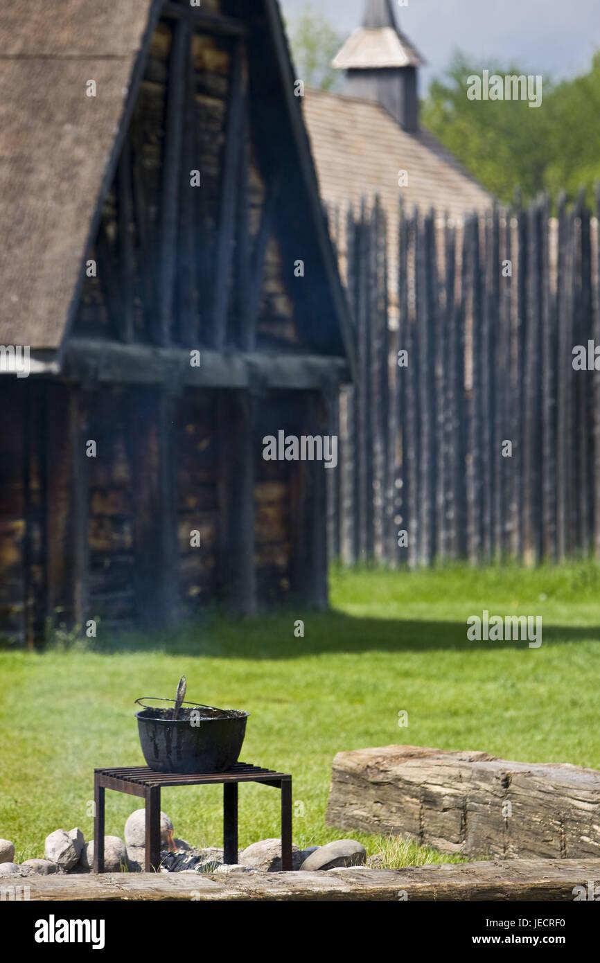 Canada, Ontario, Midland, Sainte-Marie among the Hurons, timber houses, fireplace, boiler, - Stock Image