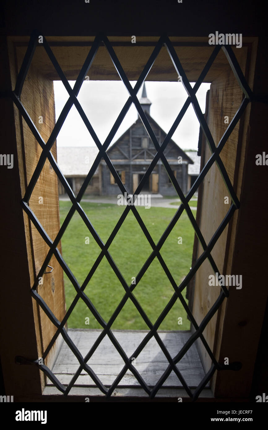 Canada, Ontario, Midland, Sainte-Marie among the Hurons, wooden house, window, grid, detail, view band, - Stock Image