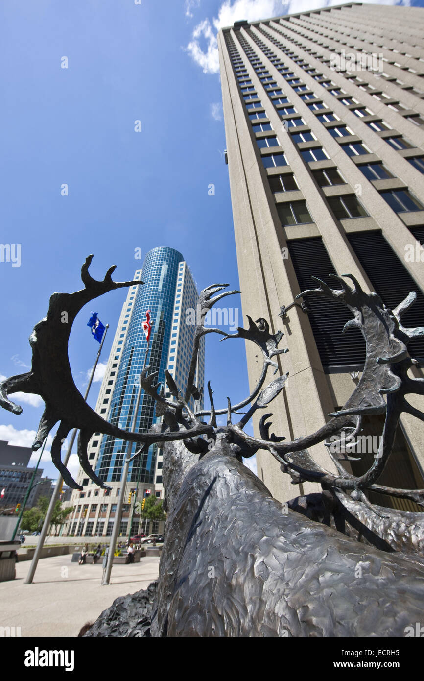 Canada, Manitoba, Winnipeg, high rises, Canwest Place, Richardson Building, bronze statue, 'Seal River Crossing', caribou, detail, Stock Photo