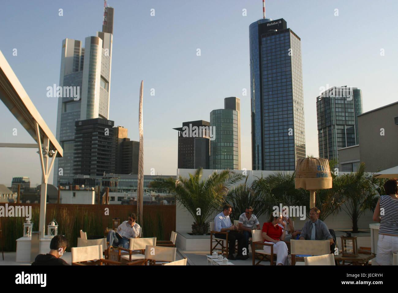 Germany, Hessen, Frankfurt on the Main, roof terrace, skyline, stage bar, bank fourth, Main metropolis, sunshades, - Stock Image